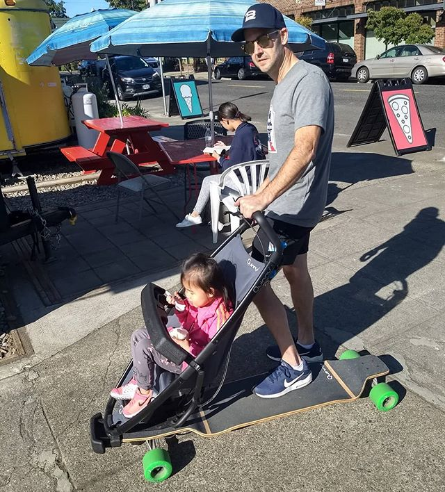 Cool snack,Cool rideCool DadAlways nice to have our friends from @myopticpdx drop by on one of the cooler strollers on the street. Add a bowl of Madagascar Vanilla and you're set! #madagascarvanilla #foodcartspdx #sellwoodfoodcart #pdxicecream #sellwoodicecream #yum